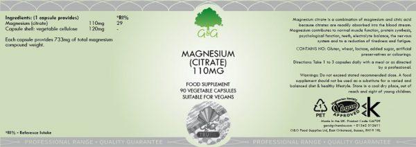 Magnesium Citrate 110mg - 90 Capsules