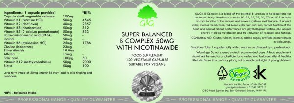 Vitamin B Complex 50mg with Nicotinamide - 120 Capsules