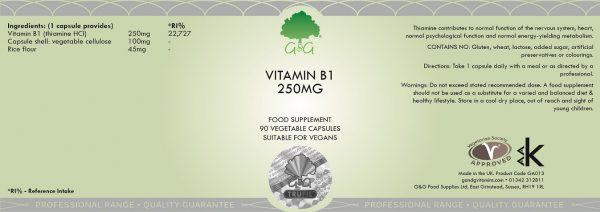 Vitamin B1 Thiamine 250mg - 90 Capsules