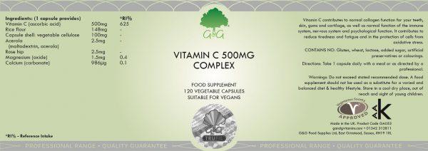 Vitamin C Complex 500mg - 120 Capsules
