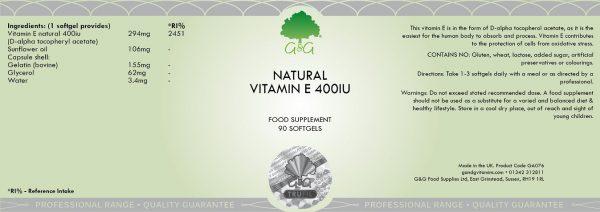 Natural Vitamin E 400iu - 90 Softgels