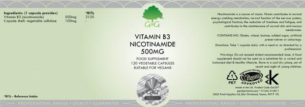 Vitamin B3 Nicotinamide 500mg - 120 Capsules