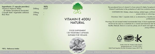 Natural Vitamin E 400iu - 120 Capsules