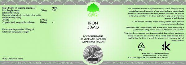 Iron 50mg - 60 Capsules