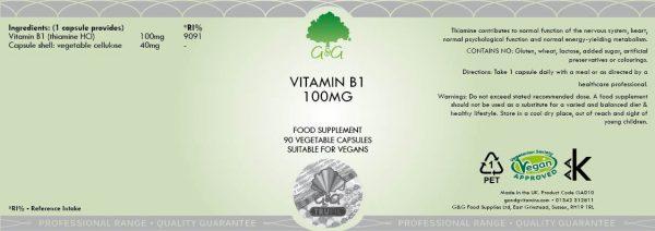 Vitamin B1 Thiamine 100mg - 90 Capsules