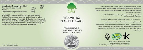 Vitamin B3 Niacin 100mg - 120 Capsules