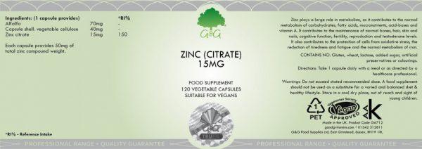 Zinc (Citrate) 15mg - 120 Capsules